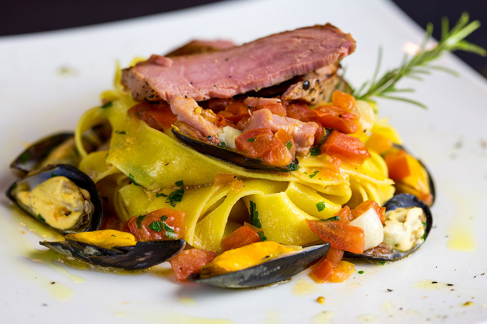new menu pappardelle pasta with tuna and sea food